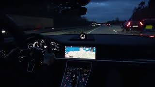 [4k] 298 km/h Techart Porsche Panamera Turbo T1-Powerkit on German Autobahn GPS verified
