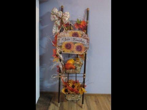 Dollar Tree Fall Harvest Ladder Decor