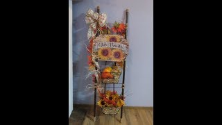 Dollar Tree Fall Harvest Ladder Decor
