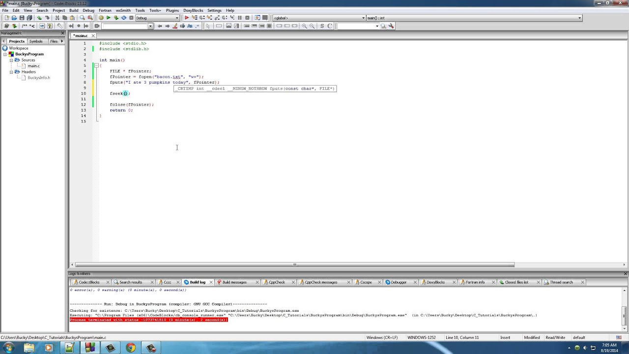 C Programming Tutorial 53 Random File Access Youtube