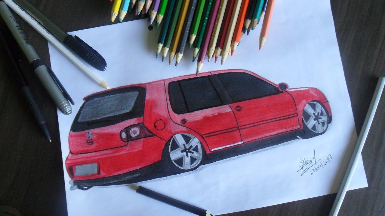 desenhando um golf desenhos automotivos 26 speed drawing youtube