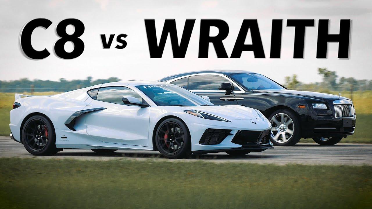 Rolls-Royce Wraith vs C8 Corvette // STREET RACE!