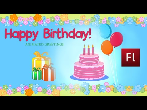 Flash Animation Tutorial Birthday Greeting ECard YouTube – E Greeting Cards Birthday