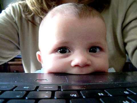 Cute Baby Eats Laptop Youtube