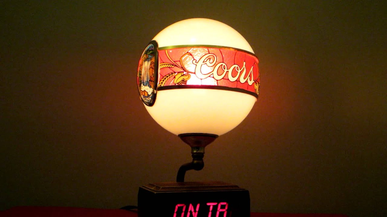 Vintage 1980 S Coors Beer Light Up Waterfall Globe W Motion Led On Tap Bar Lamp