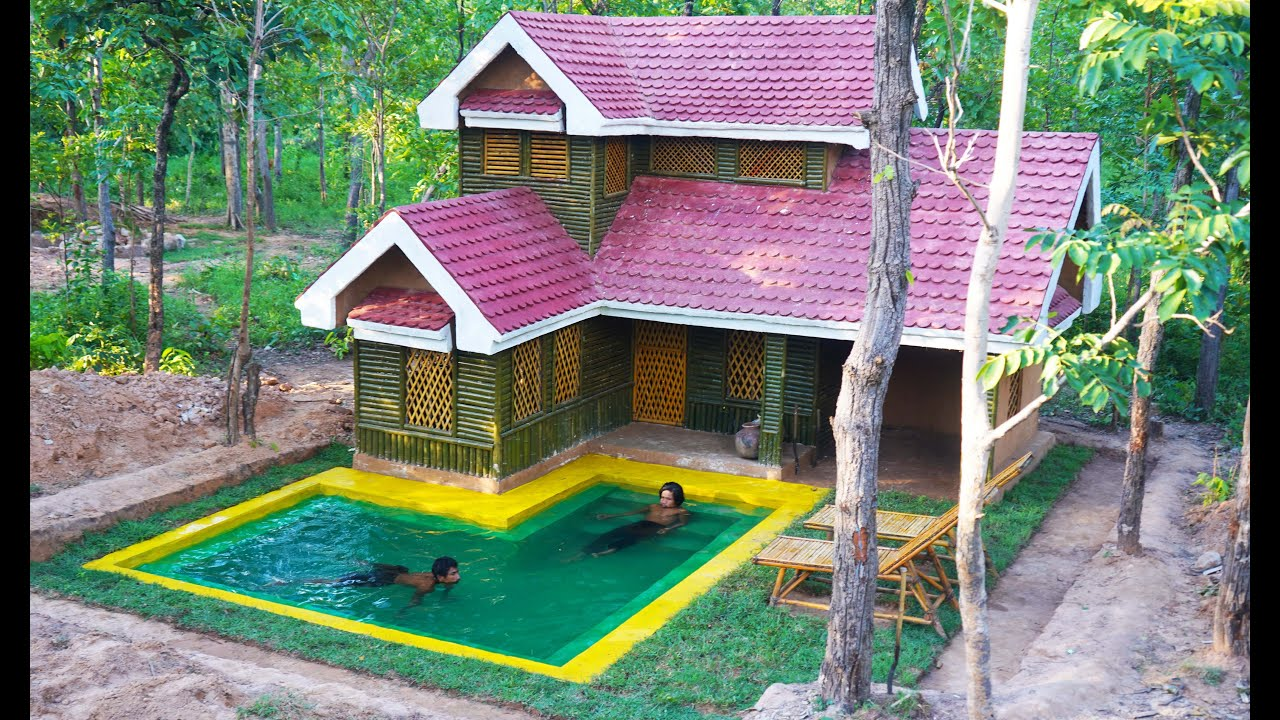 Building beautiful swimming pool and forest villa design