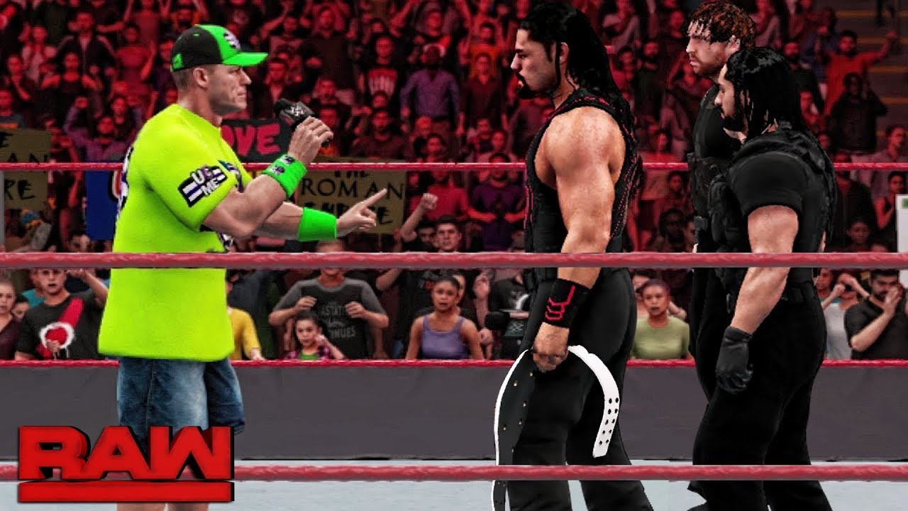 WWE 2K18 Raw - John Cena Answers Roman Reigns Intercontinental Title Open  Challenge!