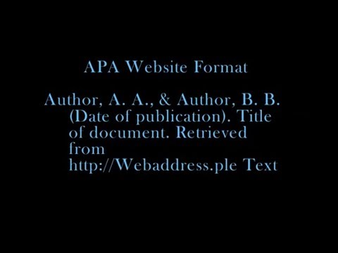 APA Website Citation Tutorial