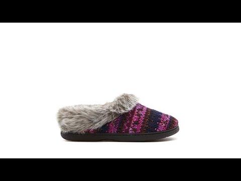 Dearfoams Fair Isle Chunky Knit Slipper - YouTube