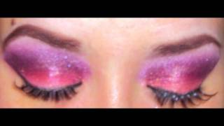 Dramatic coral and wine colored eye shadow Thumbnail