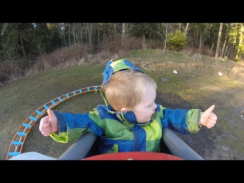 Back Yard Roller Coaster - Wyatt's First Ride