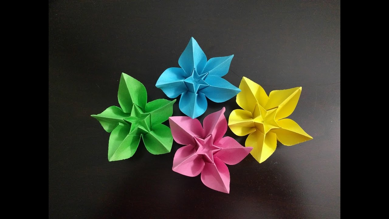 Diy simple origami paper flowers easy wall home decoration diy simple origami paper flowers easy wall home decoration tutorial youtube mightylinksfo