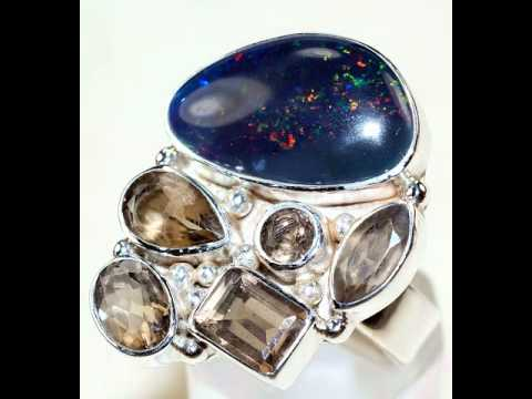 Collection of 925 Sterling Silver Rings with Natural Gemstones - 12