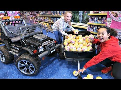 87 LOL Surprise Dolls Confetti Pop Toy Hunt! Power Wheels Ride On Car | Toys AndMe