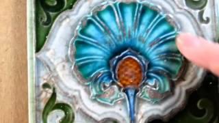 VERY ATTRACTIVE RICHLY GLAZED ORIGINAL ART NOUVEAU DECORATIVE CERAMIC TILE (13)