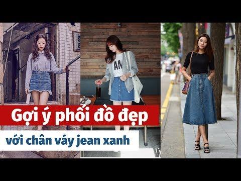 Gợi ý Phối đồ đẹp Với Chân Váy Jean Xanh