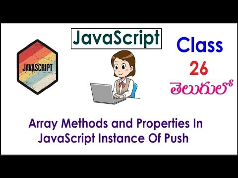 Array Methods and Properties In JavaScript Tutorial  Videos In Telugu 26 Instance Of Push I Classes thumbnail