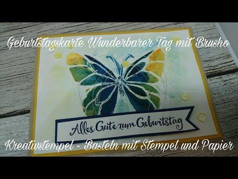 Geburtstagskarte Wunderbarer Tag mit Brusho von Stampin Up