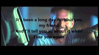 Wiz Khalifa see you again lyrics ft Charlie Puth furious 7