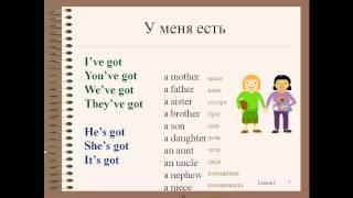 Английский язык для начинающих. Видеоуроки. Урок 4. Have/has got, родственники