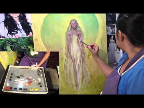 Step 6 Painting the Sheer Dress and Hands, Nature Spirit