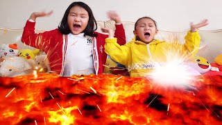 Lava appeared !! Run~ Fantastic Family pretend play Cooking with lava | Nastya,Diana,Ryan,Shfa