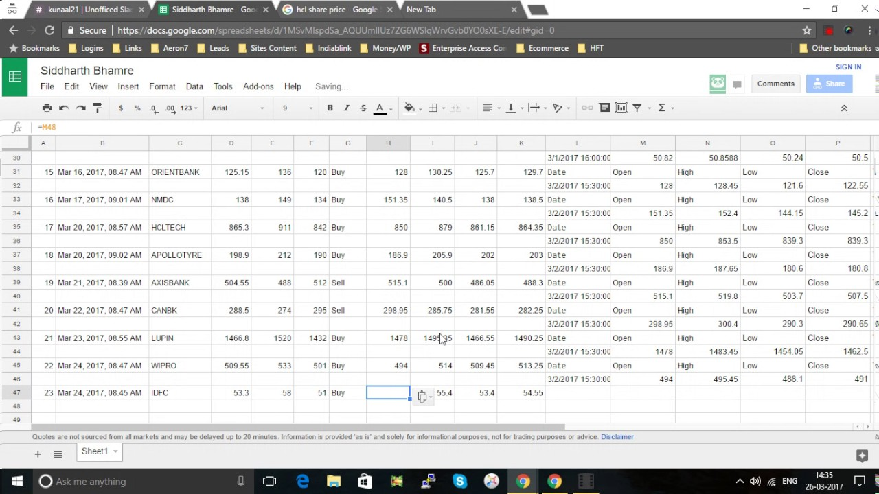 Using Google Finance
