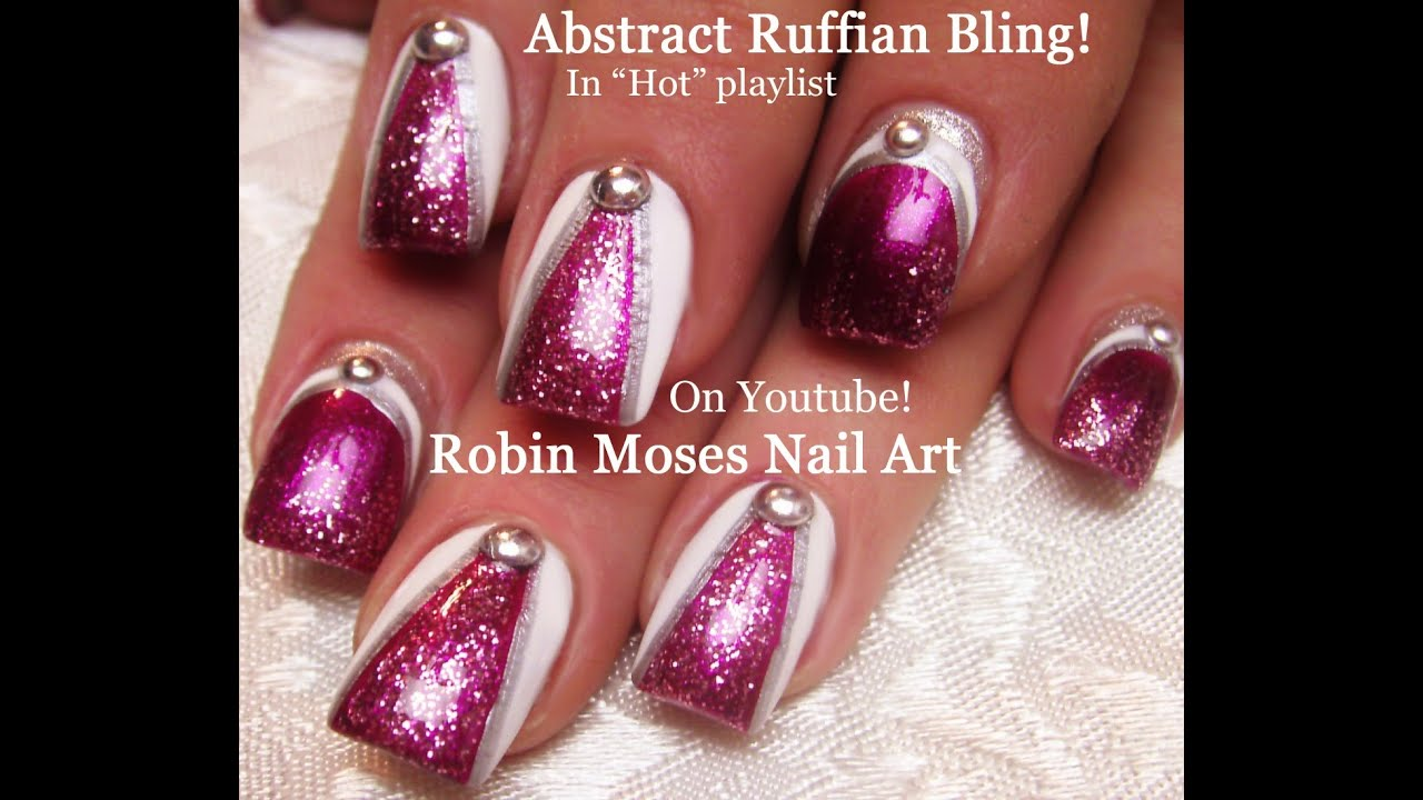 DIY Abstract Glitter Nail Design