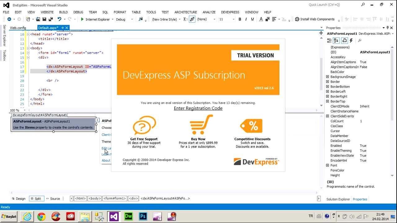 ASP NET Devexpress Form Layout Kontrolu