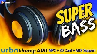 URBN Thump 400 | Bass Booster Bluetooth Headphone | MP3 + SD Card + AUX Support | HINDI | Data Dock