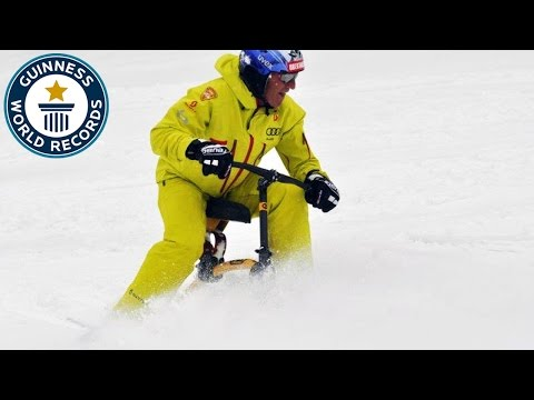 Fastest 1 km backwards on a ski-bob - Guinness World Records