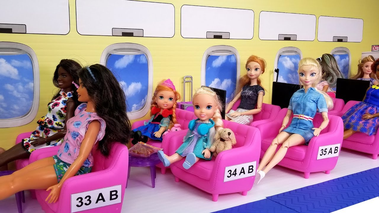 Download Airplane ! Elsa and Anna toddlers in Barbie's plane - vacation trip