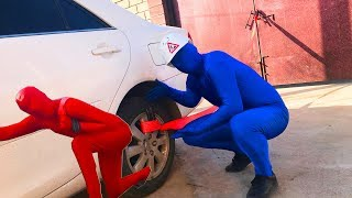 Prankster Mr  Red VS Mr  Blue and Car  For kids