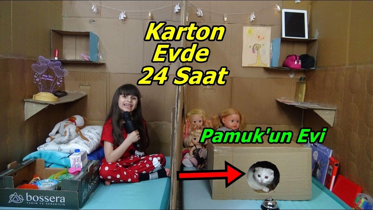 24 Saat Kedim Pamuk Dorin İle Minicik Karton Evde Yaşamak!! Son Çıkan Kazanır🤣 Prenses Lina