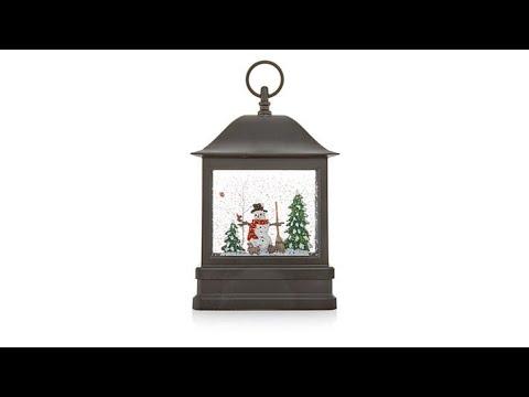 Winter Lane Musical Glitter Globe Lantern  Snowman Scene