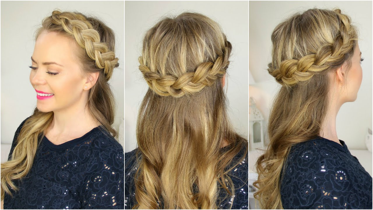 Half Up Crown Braid - YouTube