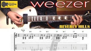Beverly Hills (Weezer) GUITAR LESSON with TAB - EASY ROCK GUITAR SONG