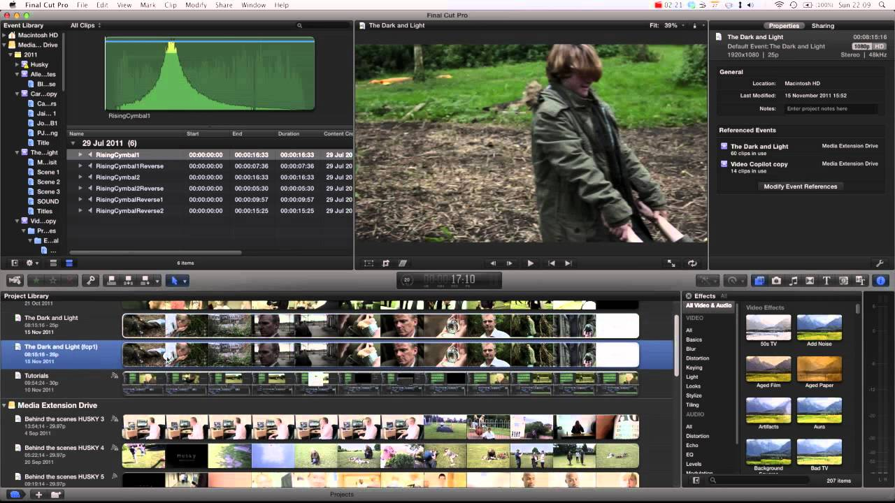 how to find projects in final cut pro