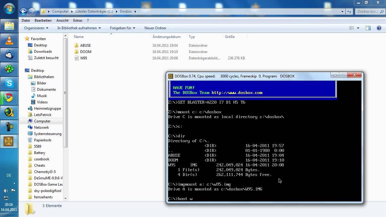 Windows 95 auf der Dosbox installieren