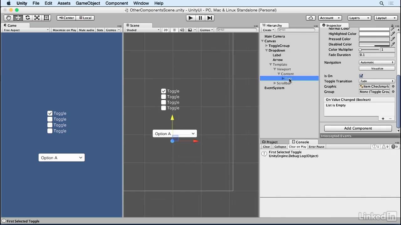 Unity 5: UI - 9 3 Creating a dropdown