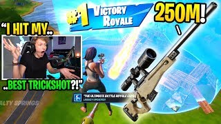 I hit my BEST TRICKSHOT EVER on a PRO PLAYER in Fortnite... (crazy reaction)