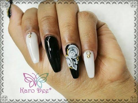 Uñas blanco y negro + 3D 🌺 - YouTube