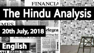 English 20 July 2018 - The Hindu News Paper Analysis - [UPSC/SSC/IBPS/All Govt Exam] Current affairs