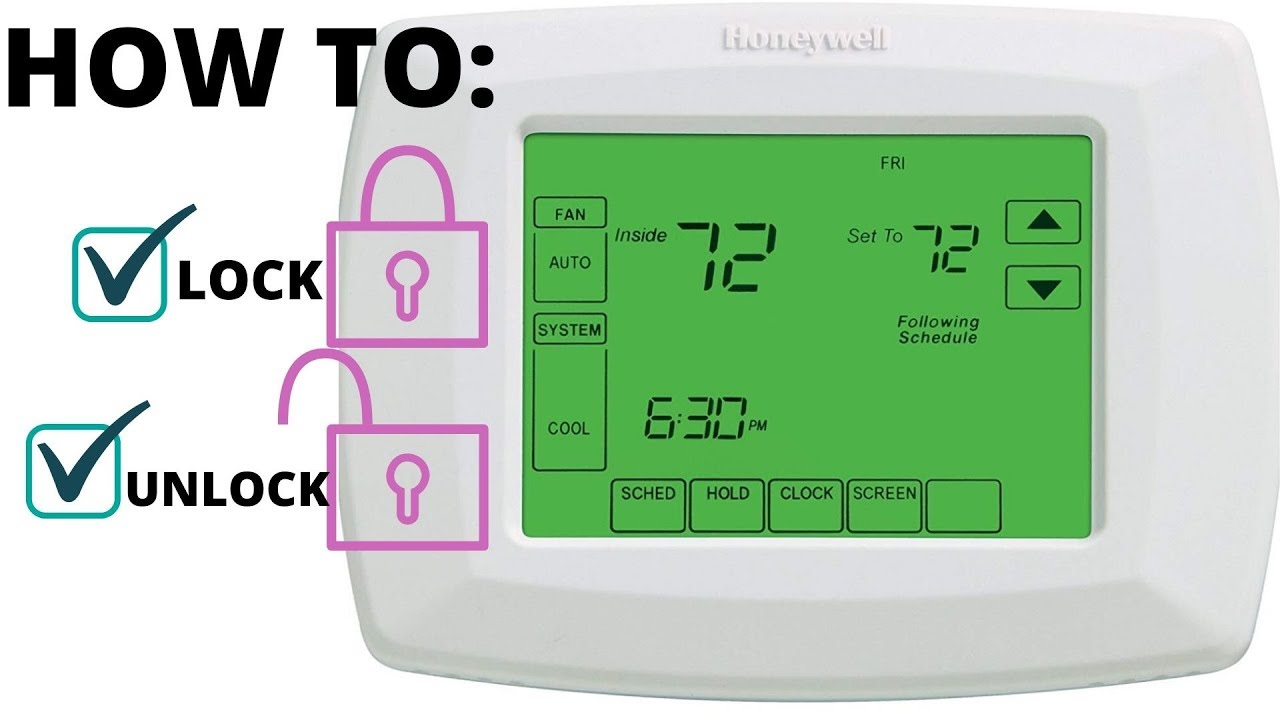 How To Lock Unlock Screen Honeywell Rth8500d Programmable Thermostat Rheem Trane Youtube
