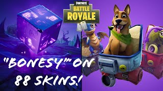"'NEW' ""Bonesy"" BACKBLING ON 88 SKINS (FORTNITE SEASON 6)"