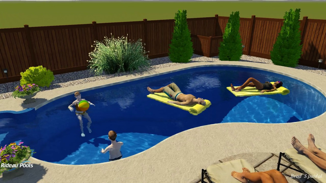 16 x 28 straightback kidney pool design by rideau pools for 12x24 pool design