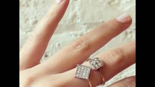 Edwardian Square Diamond Checkerboard Ring & 1909 Checkerboard Ring
