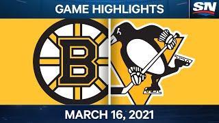 NHL Game Highlights   Bruins vs. Penguins – Mar. 16, 2021