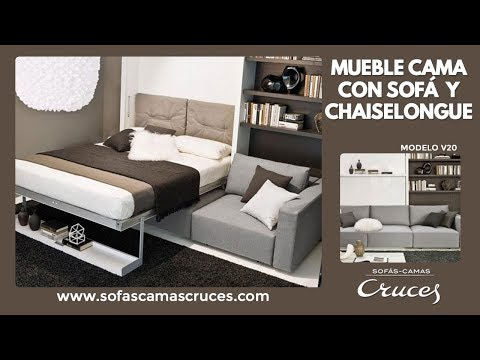 Mueble cama abatible de matrimonio con sof delante youtube for Muebles la fabrica sofas cama