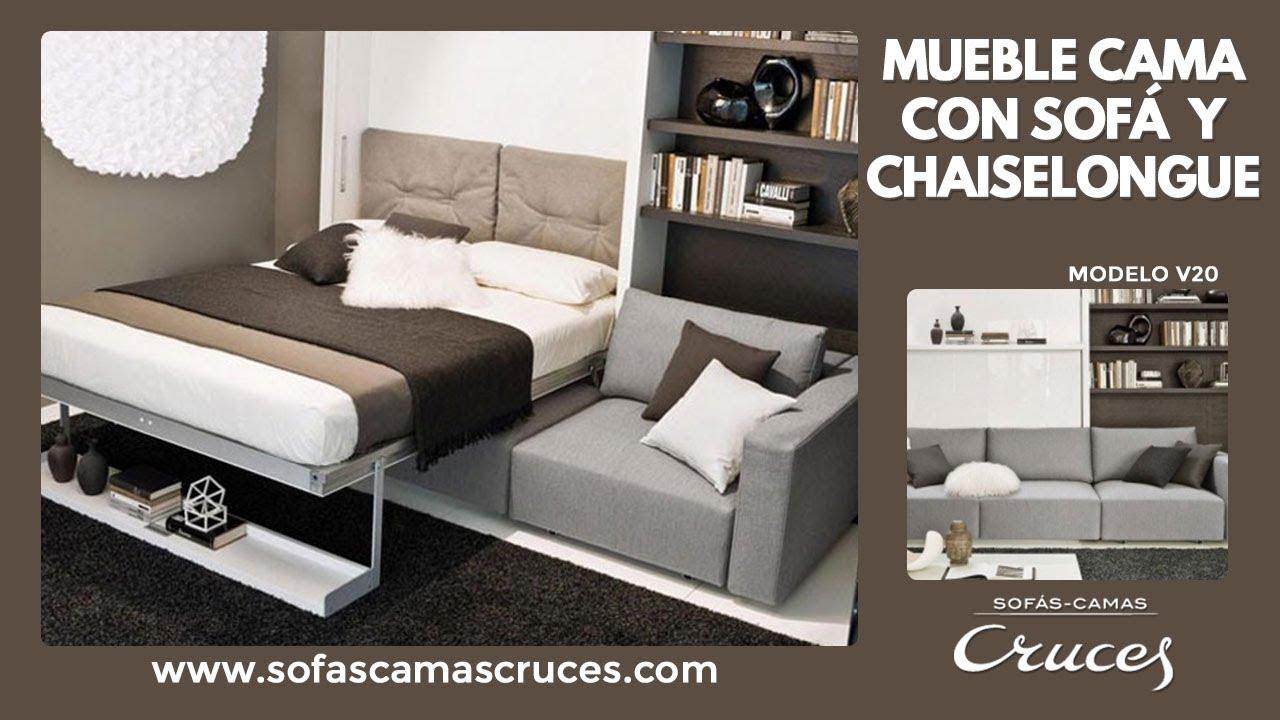 mueble cama abatible de matrimonio con sof delante youtube